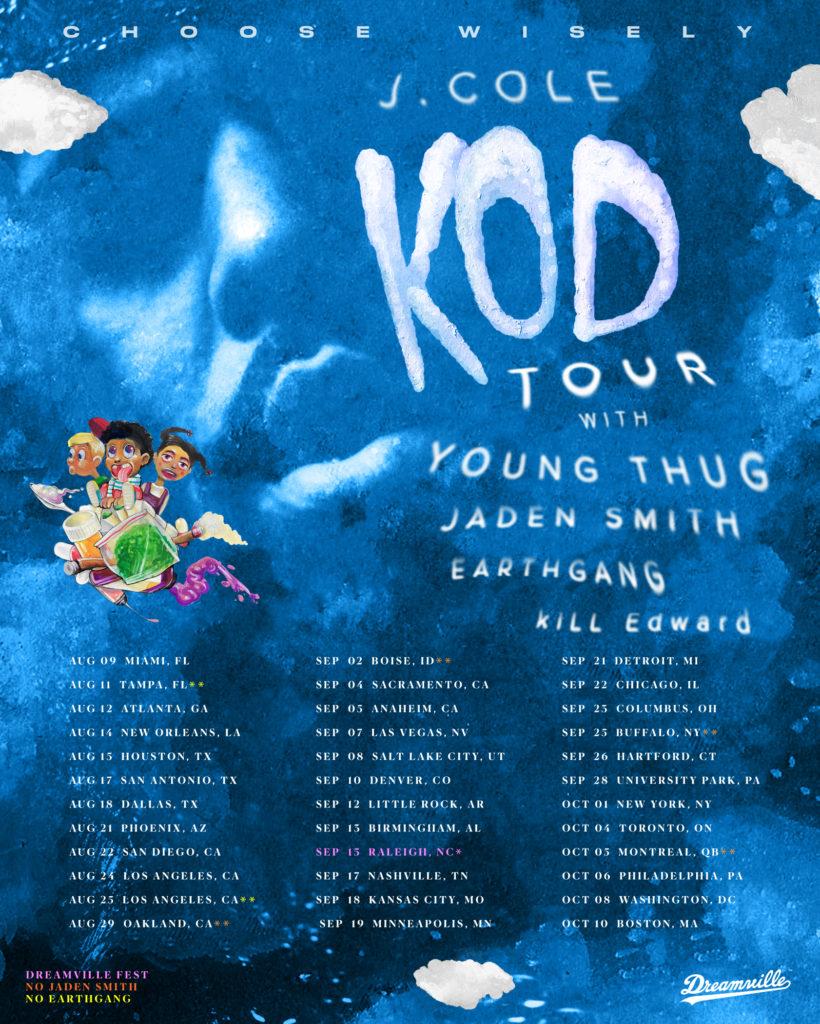 J Cole Tour Schedule 2020 KOD Tour — Dreamville